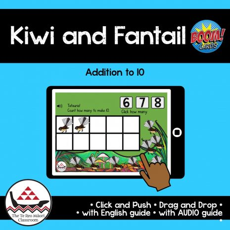 Kiwi and Fantail Addition to 10 in Te Reo Māori Boom Cards